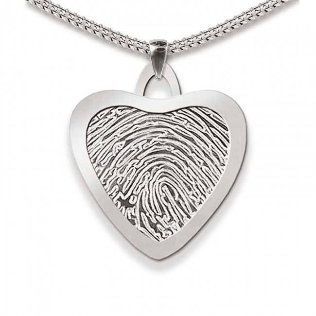 Dünner Große Herz Fingerabdruck Schmuck Silber Asche Schmuck