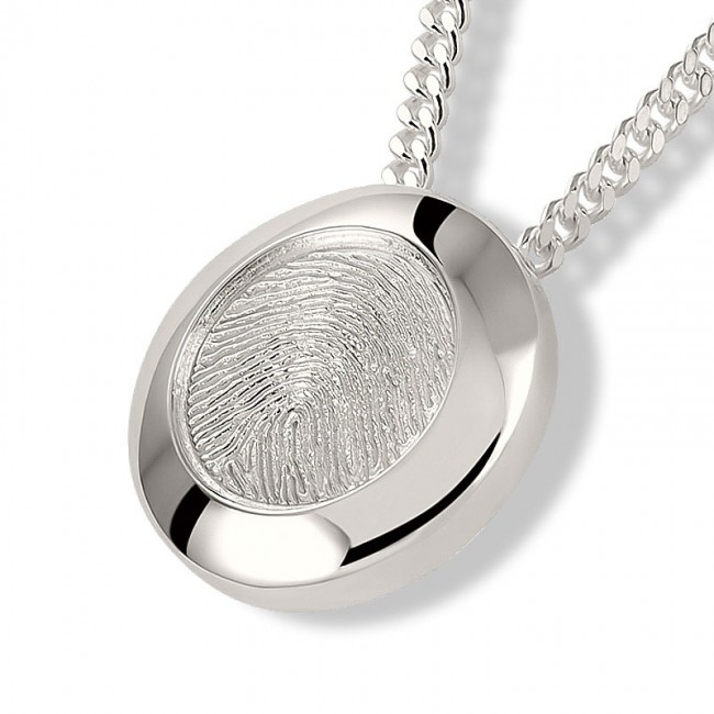 Fingerabdruck Eschenanhänger Runde Silber Asche Schmuck
