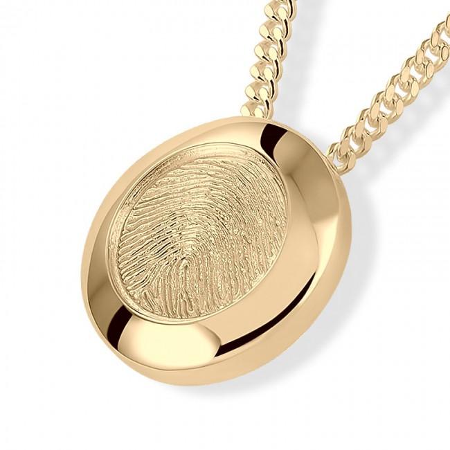 Fingerabdruck Eschenanhänger Runde Gold Asche Schmuck
