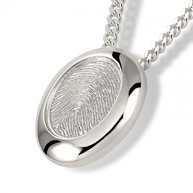Fingerabdruck Eschenanhänger Ovale Silber Asche Schmuck