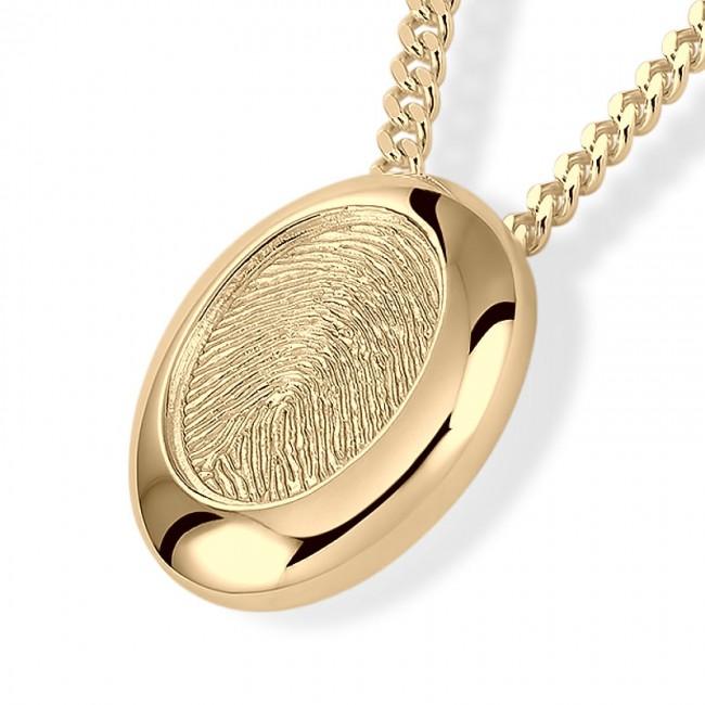 Fingerabdruck Eschenanhänger Ovale Gold Asche Schmuck