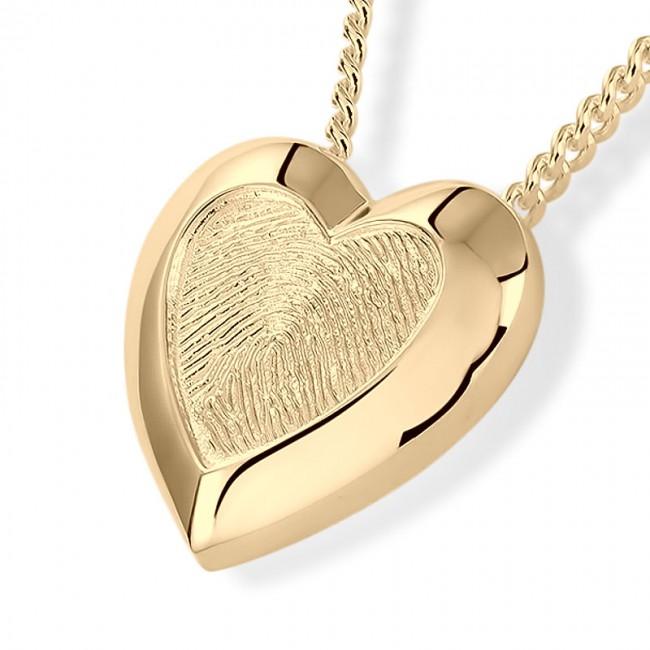 Herzförmiger Fingerabdruck Eschenanhänger Gold Asche Schmuck