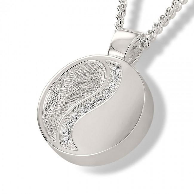 Fingerabdruck Eschenanhänger Yin Yang Runde Silber Asche Schmuck