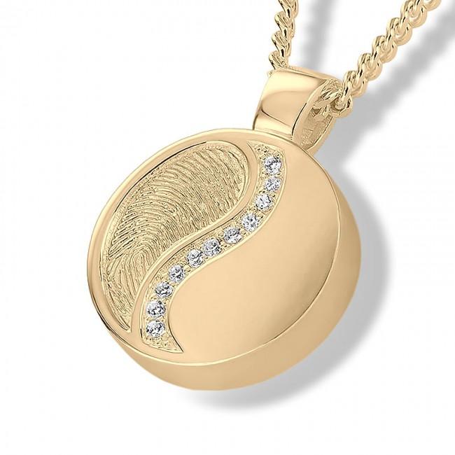 Fingerabdruck Eschenanhänger Yin Yang Runde Gold Asche Schmuck