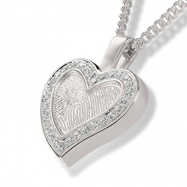 Herzförmiger Fingerabdruck Eschenanhänger mit Zirkonia – Silber Asche Schmuck