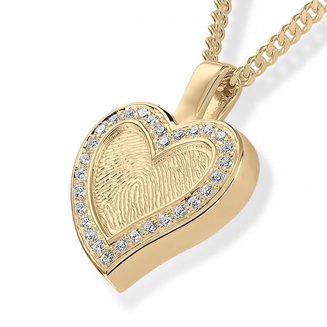 Herzförmiger Fingerabdruck Eschenanhänger mit Brilliant – Gold Asche Schmuck