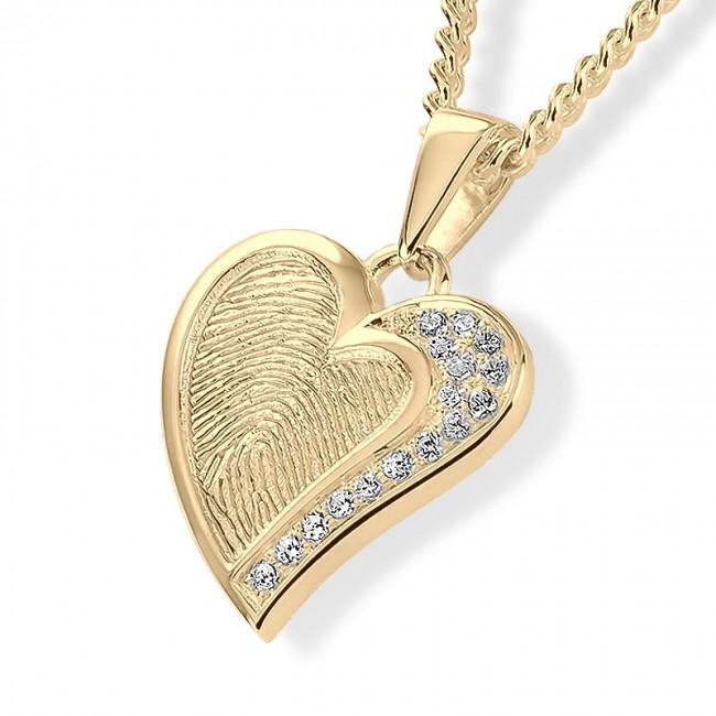 Herzförmiger Fingerabdruck Schmuck Gold mit Brillianten Asche Schmuck
