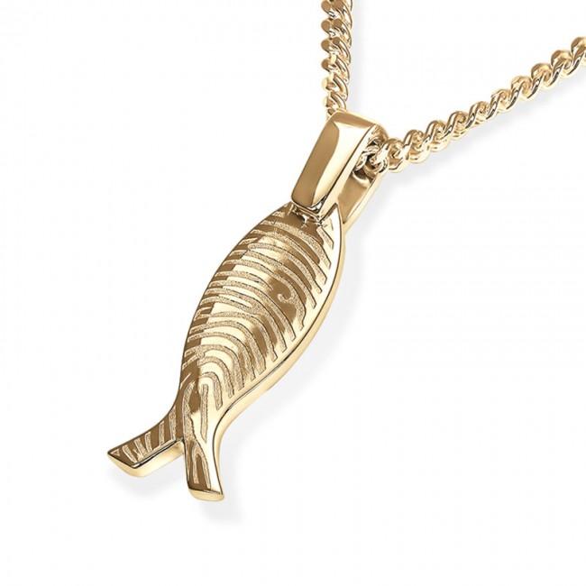 Fischförmiges Fingerabdruck Asche Schmuck Gold – Kleine Asche Schmuck