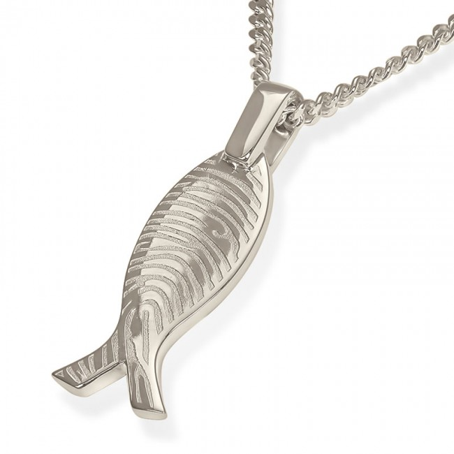 Fischförmiges Fingerabdruck Asche Schmuck Silber – Große Asche Schmuck