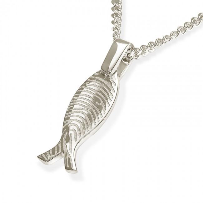 Fischförmiges Fingerabdruck Asche Schmuck Silber – Kleine Asche Schmuck