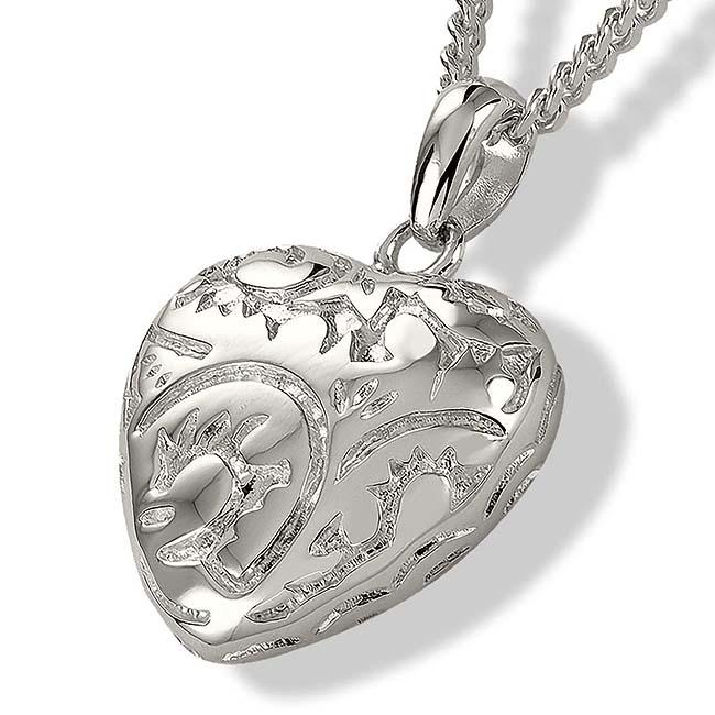 Asche Schmuck Herz im Barockstil Silber, inklusive Colliere Asche Schmuck