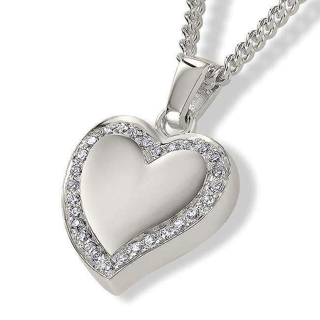Asche Schmuck Herz mit Zirkonia Rand – Silber, inklusive Colliere Asche Schmuck