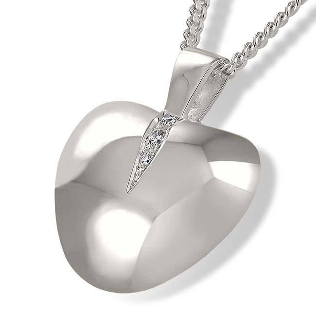 Achsbügel Herz mit Zirkonia und zwei Aschekammern Silber Asche Schmuck