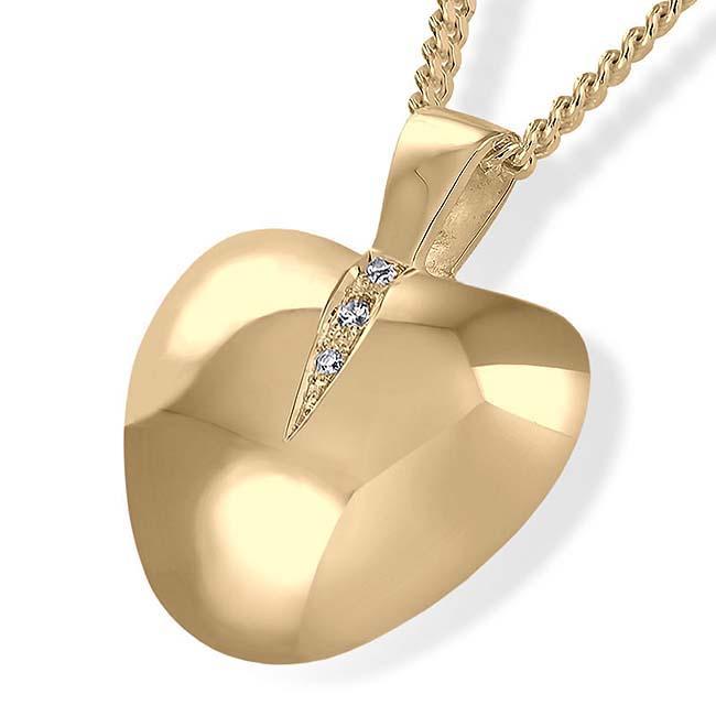 Achsbügel Herz mit Brillianten und zwei Aschekammern Gold Asche Schmuck