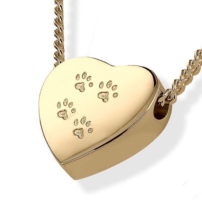 Asche Schmuck Herz mit vier Pfotenabdrücke Gold Asche Schmuck