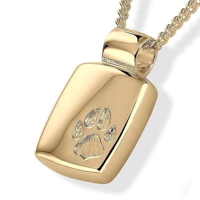 Asche Medaillon Pfotenabdrücke Gold Asche Schmuck