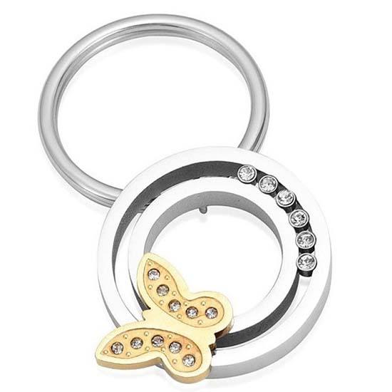 Schlüsselbund mit Ascheziel Kreis, Zirkonia und Schmetterling – Silber Asche Schmuck