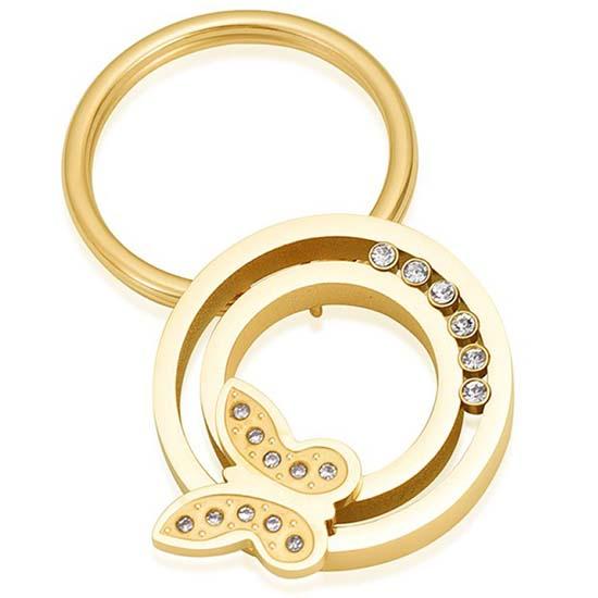 Schlüsselbund mit Ascheziel Kreis, Zirkonia und Schmetterling – Gold Asche Schmuck