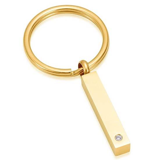 Schlüsselbund mit Ascheziel Rohr-Zirkonia Gold Asche Schmuck