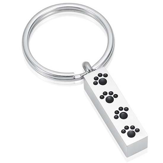 Schlüsselbund mit Ascheziel Rohr Pfote – Silber Asche Schmuck