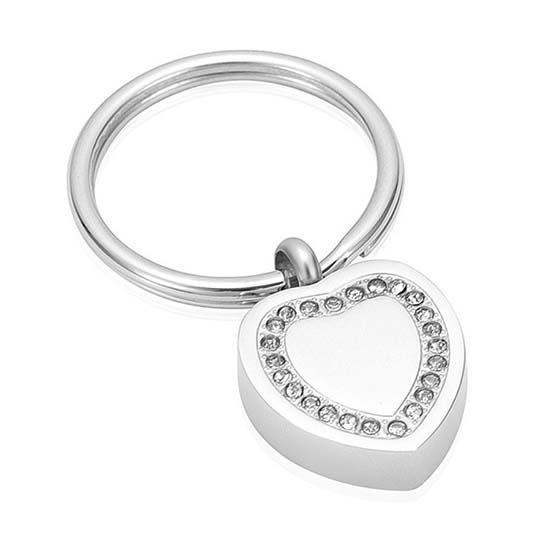 Schlüsselbund mit Ascheziel Herz-Zirkonia Silber Asche Schmuck