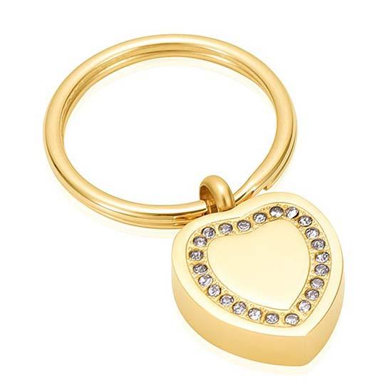 Schlüsselbund mit Ascheziel Herz-Zirkonia Gold Asche Schmuck