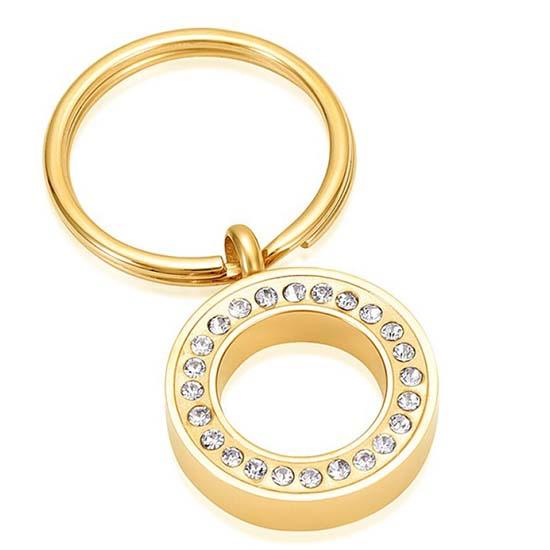 Schlüsselbund mit Ascheziel Kreis-Zirkonia Gold Asche Schmuck
