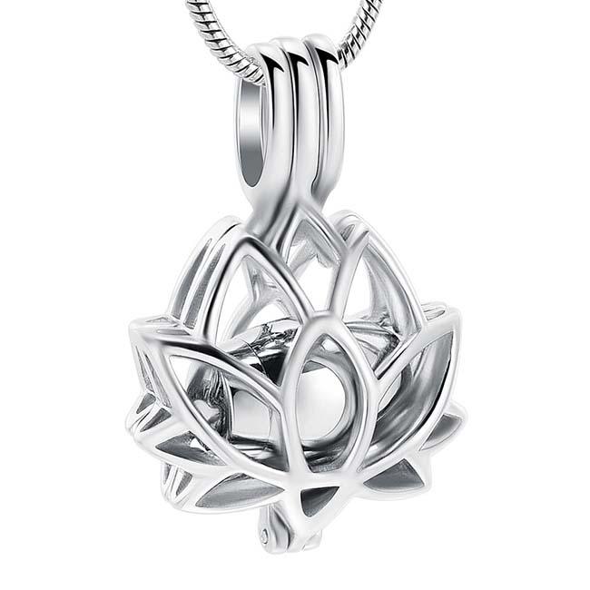 Aschenanhänger Lotusblume, Silberne Microurne mit Schlangecolliere Asche Anhänger Buddha