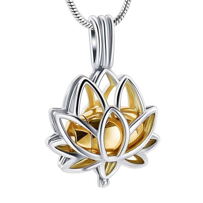 RVS Aschenanhänger Lotusblume, Goldfarbige Microurne mit Schlangecolliere Asche Anhänger Buddha