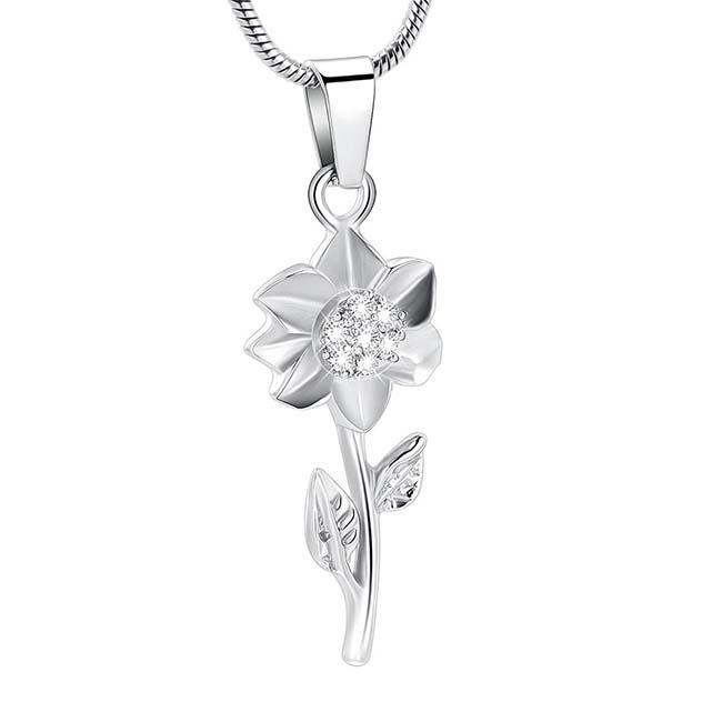 RVS Aschenanhänger Sonnenblume Silber, inklusive Colliere Asche Anhänger Blume