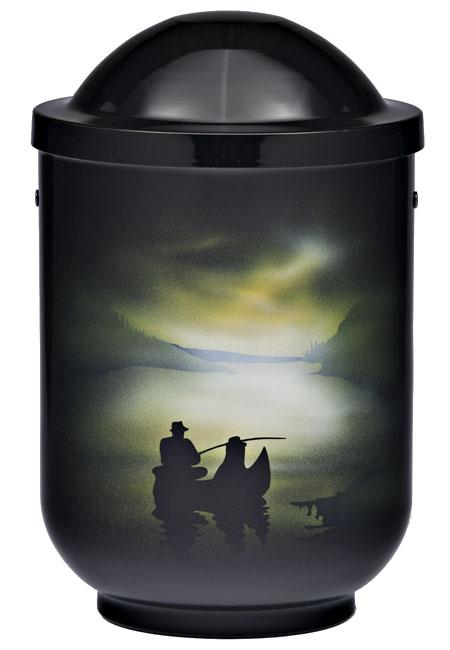 Design Urne Fischer bei Nacht (4,0 Liter) Edelstahl Urnen