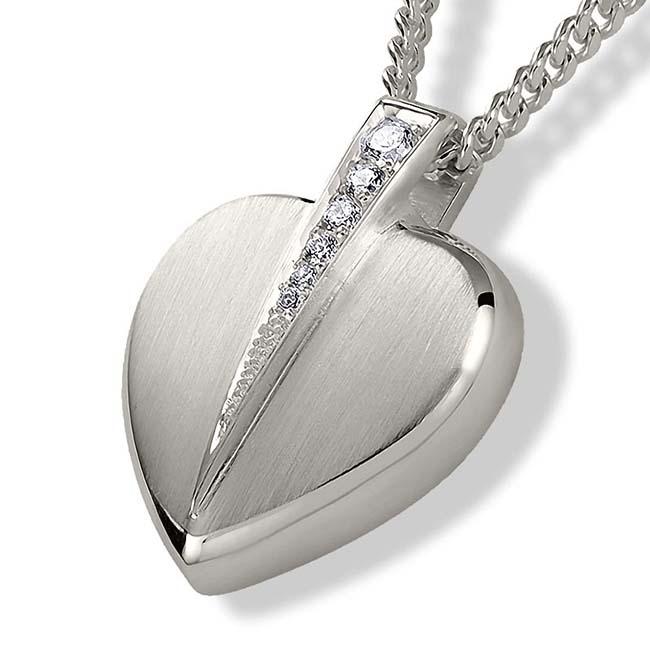 Achsbügel Herz mit Zirkonia Silber Asche Schmuck