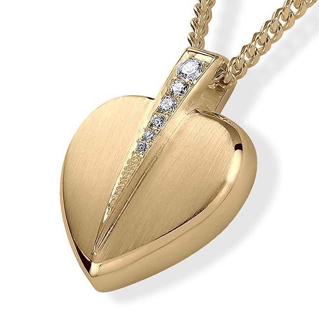 Asche Schmuck Herz mit Brillanten – Gold, inklusive Colliere Asche Schmuck