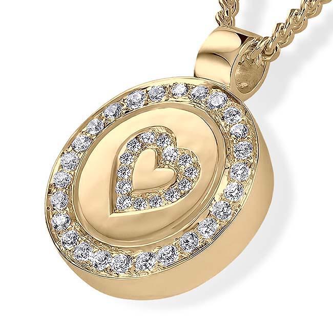 Asche Schmuck mit Brilliant Ring und Herz Gold Asche Schmuck