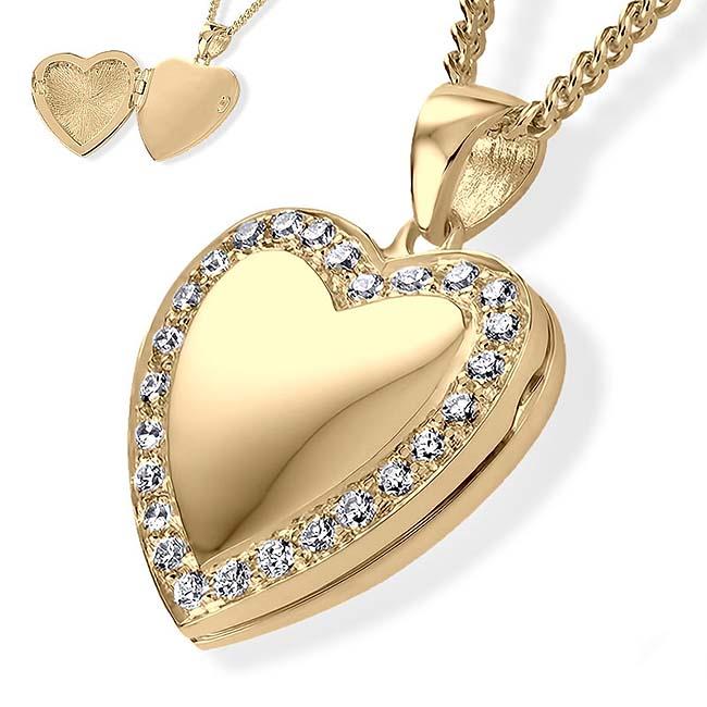 Herz Medaillon für Foto und Asche – Gold, inklusive Colliere Asche Schmuck