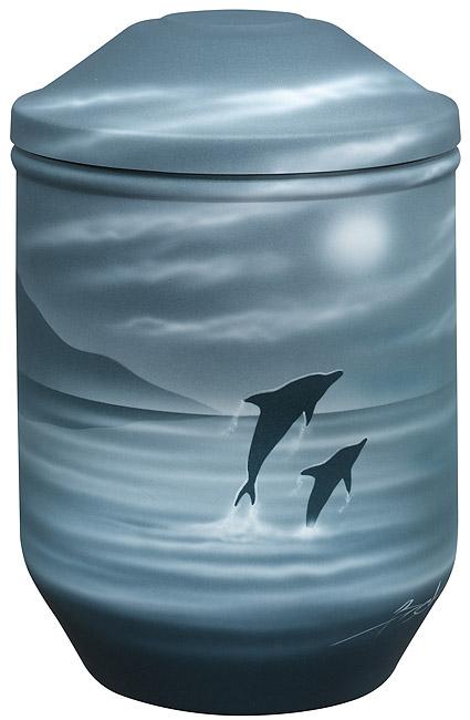 Design Urne Delfine in der Nacht (4,0 Liter) Edelstahl Urnen