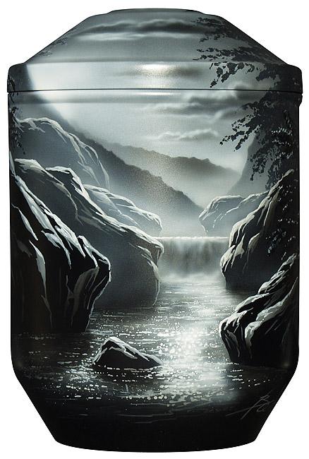 Design Urne Fluss bei Mondschein (4,0 Liter) Edelstahl Urnen