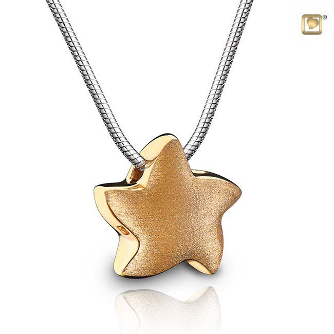Asche Schmuck Stern Zweifarbig – Vergoldetes Silber, inklusive Colliere Asche Schmuck
