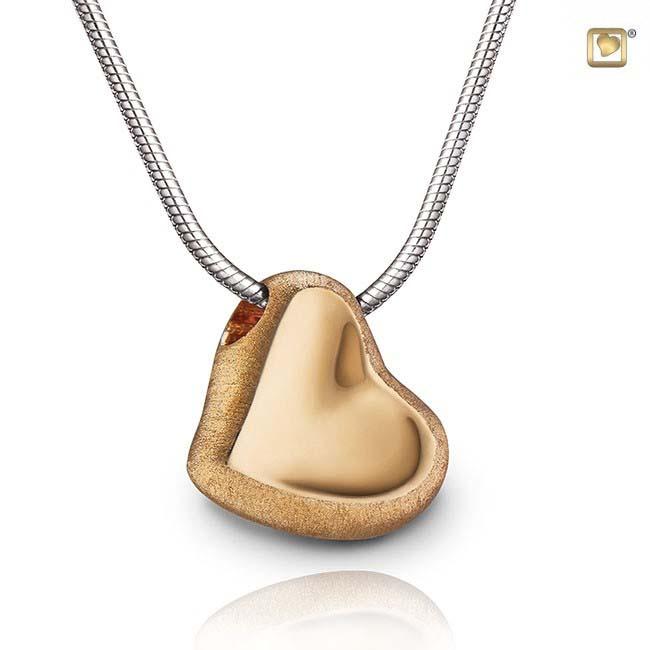 Asche Schmuck Herz Zweifarbig – Vergoldetes Silber, inklusive Colliere Asche Schmuck