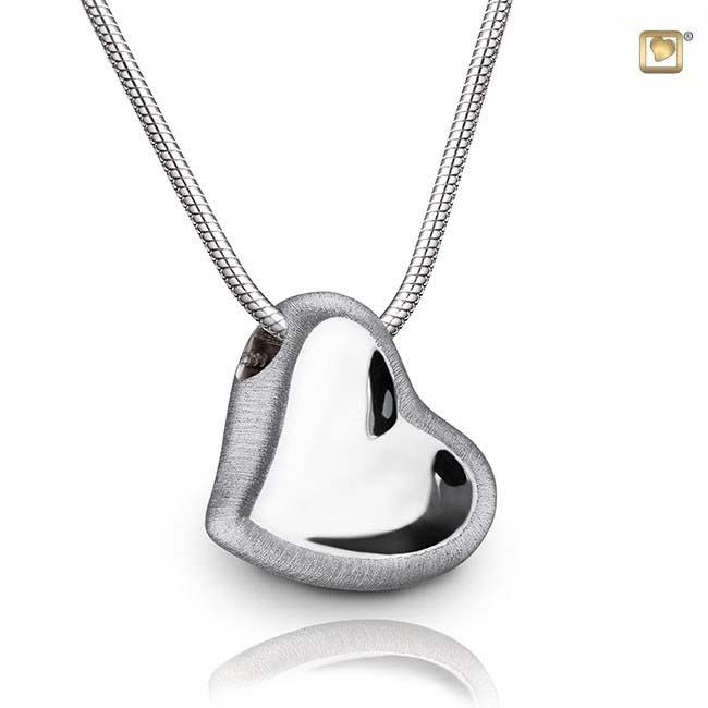 Asche Schmuck Herz Zweifarbig – Silber, inklusive Colliere Asche Schmuck