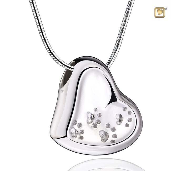 Asche Schmuck Herz Zweifarbig Pfotenabdrücke – Silber, inklusive Colliere Asche Schmuck