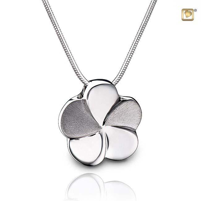 Asche Schmuck Blume Zweifarbig – Silber, inklusive Colliere Asche Schmuck