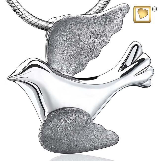 Asche Schmuck Zweifarbig Fliegende Taube, inklusive Colliere Asche Schmuck