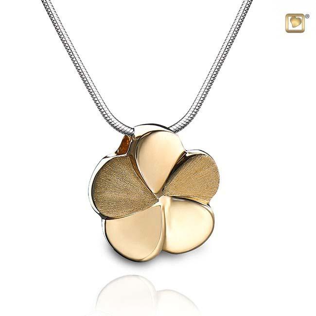 Asche Schmuck Blume Zweifarbig – Vergoldetes Silber, inklusive Colliere Asche Schmuck