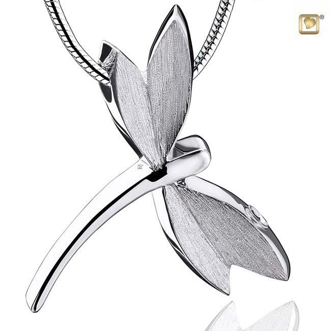 Asche Schmuck Libelle Zweifarbig Silber, inklusive Colliere Asche Schmuck