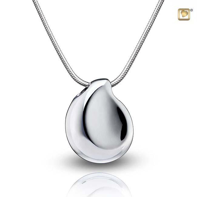 Asche Schmuck Teardrop Glänzendes Silber, inklusive Colliere Asche Schmuck