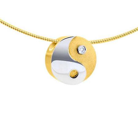 Zweifarbig Asche Anhänger Yin Yang mit Diamant – Gold und Weißgold Asche Schmuck