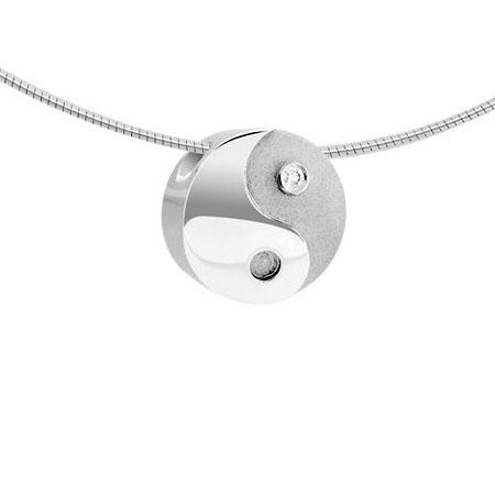 Asche Anhänger Yin Yang mit Diamant – Weißgold Asche Schmuck
