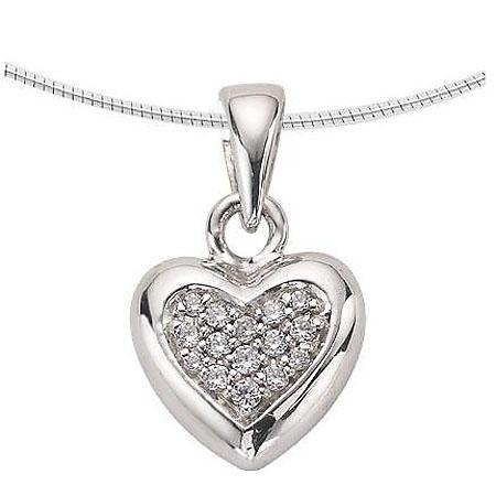 Achsbügel Herz mit Diamanten – Weißgold Asche Schmuck