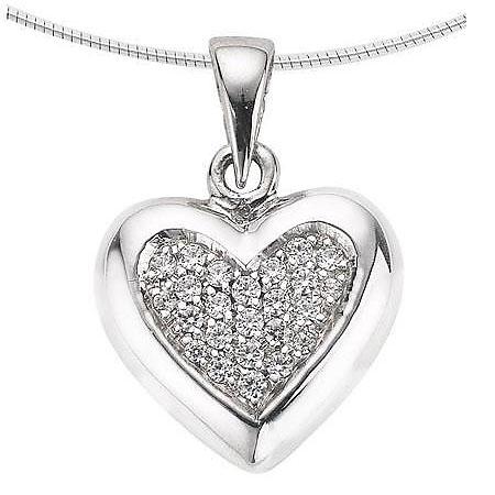Achsbügel Herz mit Diamant – Weißgold Asche Schmuck